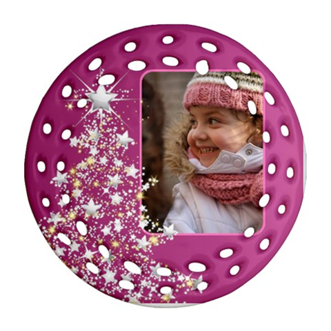 Pink Christmas Tree Filigree Ornament by Deborah Front