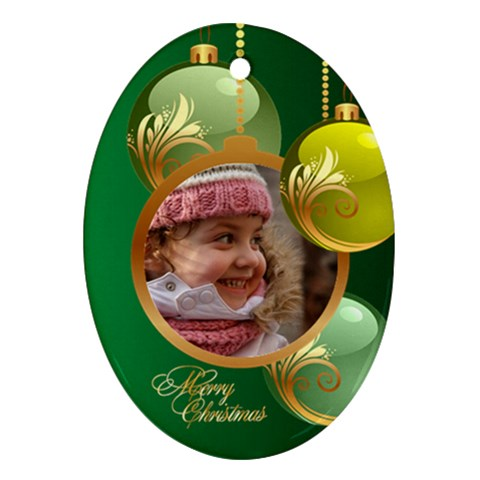 Green Christmas Oval Ornament 2 By Deborah   Ornament (oval)   Ca5dqcbugdbm   Www Artscow Com Front