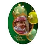 Green Christmas Oval Ornament 2 - Ornament (Oval)