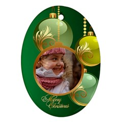 Green Christmas Oval Ornament 2 (2 Sided) By Deborah   Oval Ornament (two Sides)   T3l748d0hpud   Www Artscow Com Front