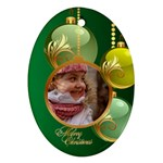 Green Christmas Oval Ornament 2 (2 sided) - Oval Ornament (Two Sides)