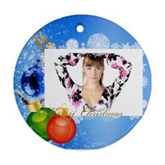 Christmas By Wood Johnson   Round Ornament (two Sides)   Xapdbu0ppmy0   Www Artscow Com Back