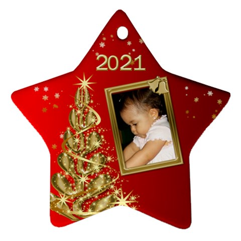 2017 Red Christmas Star Ornament By Deborah   Ornament (star)   Etkv0rgyvf5f   Www Artscow Com Front
