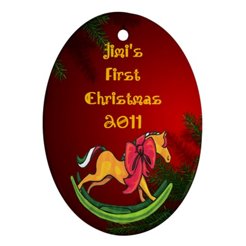 First Christmas By Maryanne   Ornament (oval)   K4snn3tderkx   Www Artscow Com Front
