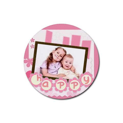 Happy By Wood Johnson   Rubber Coaster (round)   Hjj4i3cmsscv   Www Artscow Com Front