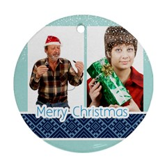 Happy Christmas By May   Round Ornament (two Sides)   Bz3brjqhjcw3   Www Artscow Com Front