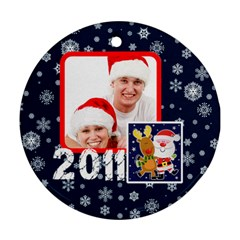 Santa Rudolf Penguin Round Double Sided Ornament By Catvinnat   Round Ornament (two Sides)   Xsb2ixetkplj   Www Artscow Com Front