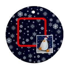 Santa Rudolf Penguin Round Double Sided Ornament By Catvinnat   Round Ornament (two Sides)   Xsb2ixetkplj   Www Artscow Com Back