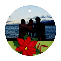 Round Ornament (two Sides) : Poinsettia By Jennyl   Round Ornament (two Sides)   Qhagj3cekf4e   Www Artscow Com Front