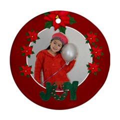 Round Ornament (two Sides) : Poinsettia3 By Jennyl   Round Ornament (two Sides)   9plkfkdy83l3   Www Artscow Com Front