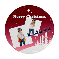 Christmas By Wood Johnson   Round Ornament (two Sides)   Hp35g87suki1   Www Artscow Com Back