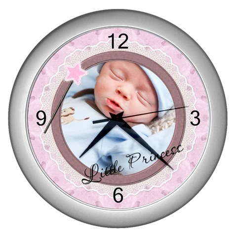 Little Princess Wall Clock (silver) By Lil    Wall Clock (silver)   9a5r6fb1q7s9   Www Artscow Com Front