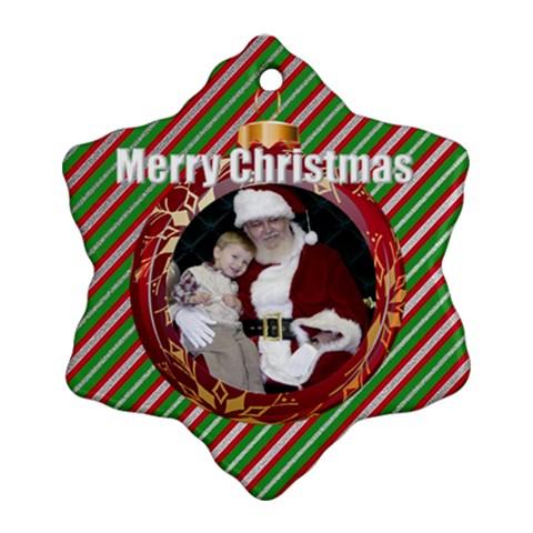 Merry Christmas Snowflake Ornament By Deborah   Ornament (snowflake)   Mea9pf8xohau   Www Artscow Com Front