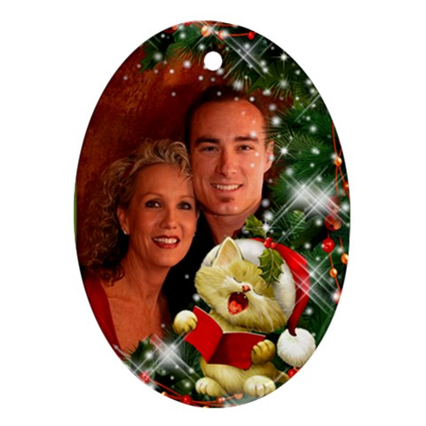 Sing Merry Christmas Ornament By Deborah   Ornament (oval)   9j6lsn4sgudd   Www Artscow Com Front