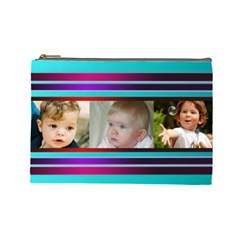 Pretty Stipes Large Cosmetic Bag (6 Photos) 2 By Deborah   Cosmetic Bag (large)   Iflts84092xx   Www Artscow Com Front