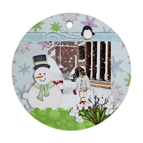 Ornament   Winter By Angel   Ornament (round)   Yoc1vanbfa5p   Www Artscow Com Front