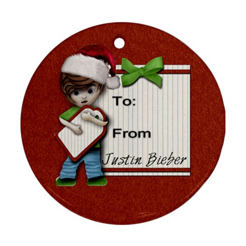 Justin Bieber Ornament (cute) By Amarie   Ornament (round)   Lhr4oi156nfu   Www Artscow Com Front