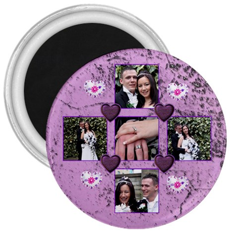 Purple Heart 3 Inch Magnet By Catvinnat   3  Magnet   Edelztfoh6i2   Www Artscow Com Front
