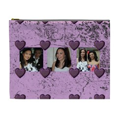 Purple Heart Extra Large Cosmetic Bag By Catvinnat   Cosmetic Bag (xl)   9li9mvdgrxzu   Www Artscow Com Front
