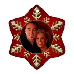 Red and Gold Snowflake Ornament (2 Sided) by Deborah Back