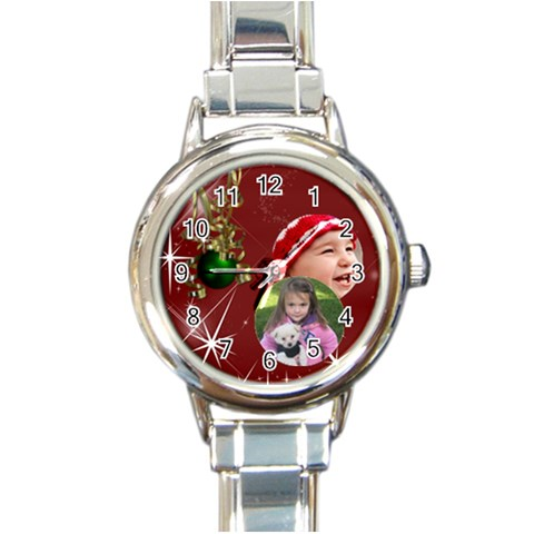 Christmas Collection  By Picklestar Scraps   Round Italian Charm Watch   Gkfu6euzi6j9   Www Artscow Com Front