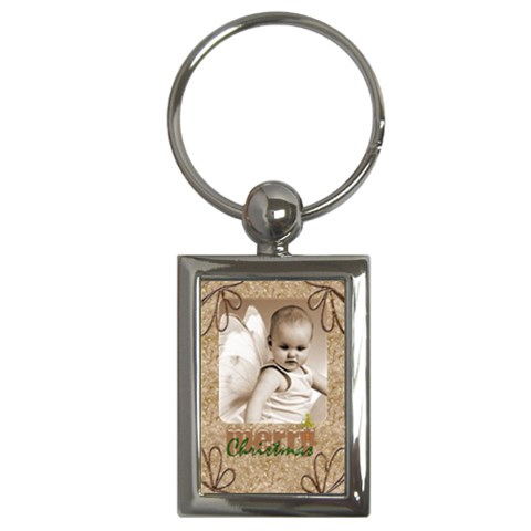 Merry Christmas Rectangle Keychain Keyring By Catvinnat Front