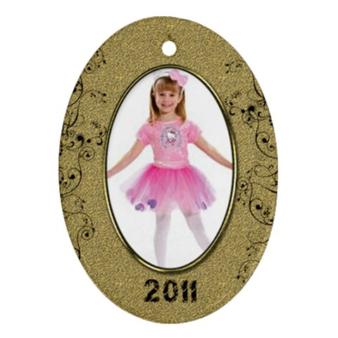 Gold Oval 2011 Ornament by Catvinnat Front