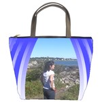 Varigated blue ribbon bucket bag