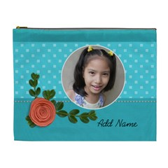 XL Cosmetic Bag: Orange Flower by JennyL Front