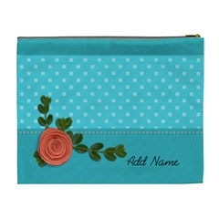 XL Cosmetic Bag: Orange Flower by JennyL Back