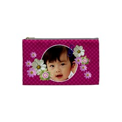 Pink Florals Cosmetic Bag Small By Purplekiss   Cosmetic Bag (small)   Pdpugv6yulu0   Www Artscow Com Front