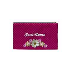 Pink Florals Cosmetic Bag Small By Purplekiss   Cosmetic Bag (small)   Pdpugv6yulu0   Www Artscow Com Back
