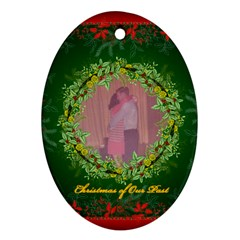 Family Christmas Ornament By Frankie   Oval Ornament (two Sides)   Z2zihrx8cj7i   Www Artscow Com Front