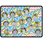 Blue and Yellow Hearts (XL) Blanket - Fleece Blanket (Extra Large)