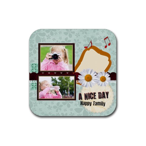 A Nice Day By Joely   Rubber Square Coaster (4 Pack)   1ywgey083ie1   Www Artscow Com Front