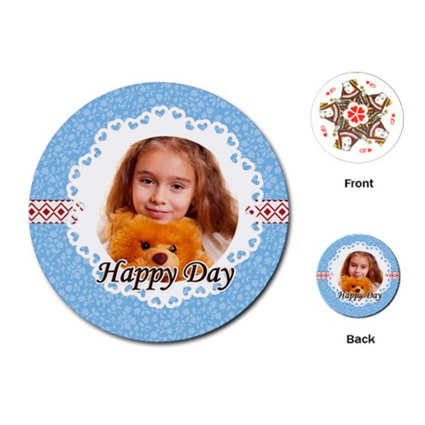 Happy Day By Joely   Playing Cards (round)   Jqjsdyhyeehs   Www Artscow Com Front
