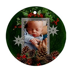 Christmas Holly Round Ornament (2 Sides) By Lil    Round Ornament (two Sides)   Gpaahfxef1g3   Www Artscow Com Front