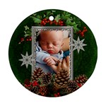 Christmas Holly Round Ornament (2 Sides) - Round Ornament (Two Sides)