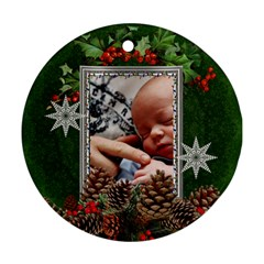 Christmas Holly Round Ornament (2 Sides) By Lil    Round Ornament (two Sides)   Gpaahfxef1g3   Www Artscow Com Back