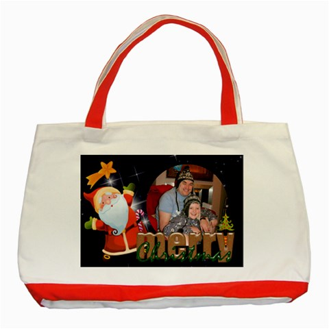 Jolly Santa Merry Christmas Red Gift Bag Tote By Catvinnat   Classic Tote Bag (red)   Eidvz0vdg2ez   Www Artscow Com Front