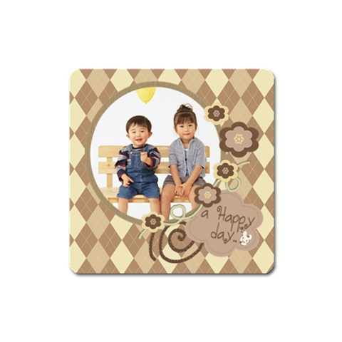 Happy Day Magnet Square By Purplekiss   Magnet (square)   Jh8ebdii9bq4   Www Artscow Com Front