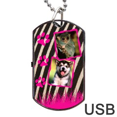 Jungle Usb 2 Sides By Carmensita   Dog Tag Usb Flash (two Sides)   Emu7rliy8bpm   Www Artscow Com Front