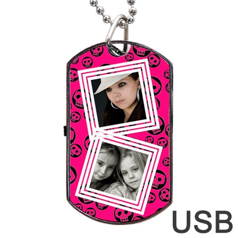 Pretty Skull Usb One Side By Carmensita   Dog Tag Usb Flash (one Side)   Oxv13bhkp90x   Www Artscow Com Front