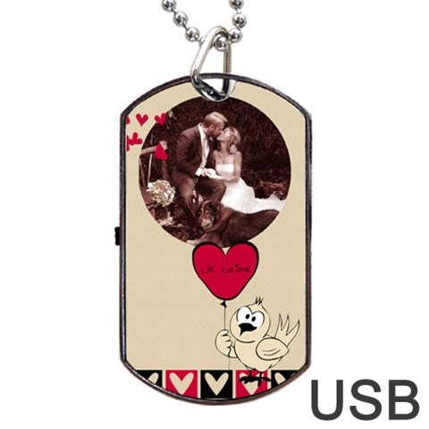 Love Usb One Side By Carmensita   Dog Tag Usb Flash (one Side)   Dl98o5gpm8dv   Www Artscow Com Front