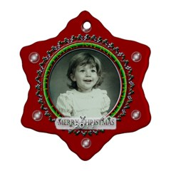 Merry Christmas Red By Claire Mcallen   Snowflake Ornament (two Sides)   Mqy34t4fl0t0   Www Artscow Com Front