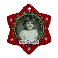Merry Christmas Red By Claire Mcallen   Snowflake Ornament (two Sides)   Mqy34t4fl0t0   Www Artscow Com Back