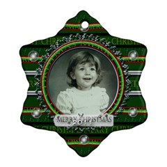 Green Merry Christmas By Claire Mcallen   Snowflake Ornament (two Sides)   Ks9g1bxy539r   Www Artscow Com Front