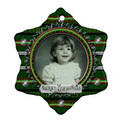Green Merry Christmas By Claire Mcallen   Snowflake Ornament (two Sides)   Ks9g1bxy539r   Www Artscow Com Back