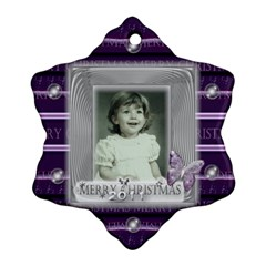 Purple Butterfly Glass Frame Bubble Christmas By Claire Mcallen   Snowflake Ornament (two Sides)   Wz5biajpzqa2   Www Artscow Com Back