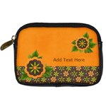 Digital Camera Leather Case : Orange Flowers